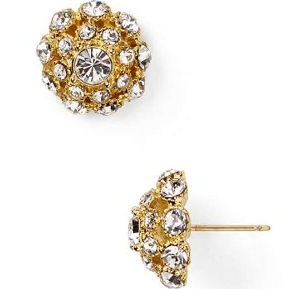 """KATE SPADE """"PUTTING ON THE RITZ"""" CRYSTAL STUD POST EARRINGS BRIDAL PAVE"""